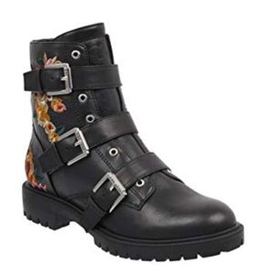 GUESS Floral Embroidered Combat Boots